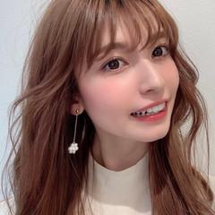 韓国ヘア ミディアム 小顔ヘア シースルーバング ヘアスタイルや髪型の写真・画像
