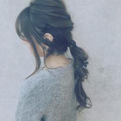 ロング セルフヘアアレンジ ゆるふわ ヘアアクセ ヘアスタイルや髪型の写真・画像
