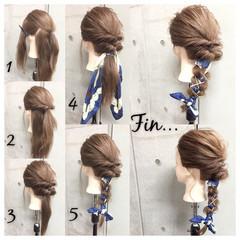ヘアアレンジ ヘアアクセ 大人女子 セミロング ヘアスタイルや髪型の写真・画像
