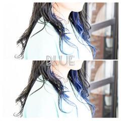 ネイビーカラー ネイビーブルー ストリート ネイビーアッシュ ヘアスタイルや髪型の写真・画像