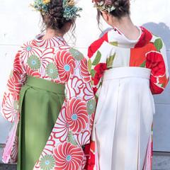 袴 ガーリー ヘアセット ミディアム ヘアスタイルや髪型の写真・画像