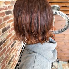 ボブ ガーリー 外ハネ ハイライト ヘアスタイルや髪型の写真・画像