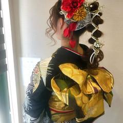ロング 成人式 和装ヘア ポニーテールアレンジ ヘアスタイルや髪型の写真・画像