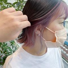 ラズベリーピンク ベリーピンク ストリート イヤリングカラーピンク ヘアスタイルや髪型の写真・画像
