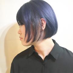 フリンジバング ニュアンス インナーカラー ボブ ヘアスタイルや髪型の写真・画像