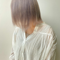 ミディアム ハイトーンカラー ハイトーンボブ ハイトーン ヘアスタイルや髪型の写真・画像