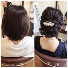 女子会 ヘアアレンジ ボブ 結婚式 ヘアスタイルや髪型の写真・画像