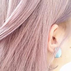 ラベンダー ホワイト ガーリー ボブ ヘアスタイルや髪型の写真・画像