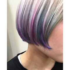 アッシュ ハイライト ヘアアレンジ ストリート ヘアスタイルや髪型の写真・画像