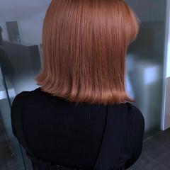 切りっぱなしボブ ナチュラル ピンクベージュ ボブ ヘアスタイルや髪型の写真・画像