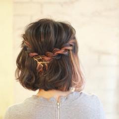 簡単ヘアアレンジ ショート ヘアアレンジ 大人かわいい ヘアスタイルや髪型の写真・画像