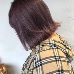 ボブ ガーリー アッシュバイオレット ピンクバイオレット ヘアスタイルや髪型の写真・画像