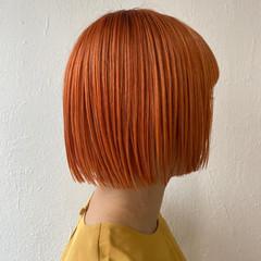 ショート ショートヘア オレンジカラー ナチュラル ヘアスタイルや髪型の写真・画像