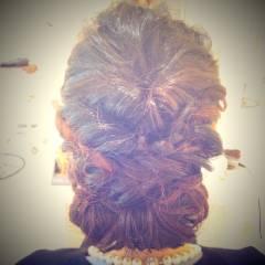 三つ編み くるりんぱ 結婚式 アップスタイル ヘアスタイルや髪型の写真・画像