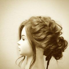 セミロング ヘアアレンジ ゆるふわ ショート ヘアスタイルや髪型の写真・画像