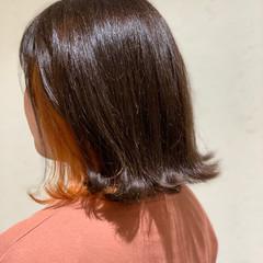 モード ミディアム ブリーチ インナーカラー ヘアスタイルや髪型の写真・画像