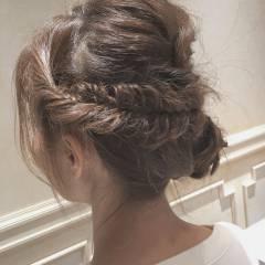 外国人風 ヘアアレンジ 波ウェーブ セミロング ヘアスタイルや髪型の写真・画像
