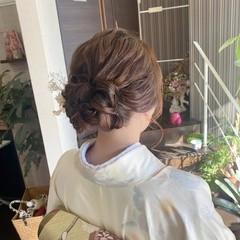 ナチュラル ヘアアレンジ 着物 ヘアセット ヘアスタイルや髪型の写真・画像