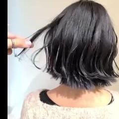 ボブ 切りっぱなしボブ グレージュ 透明感カラー ヘアスタイルや髪型の写真・画像