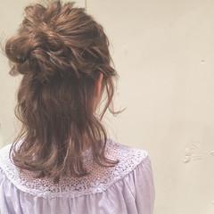 女子会 ゆるふわ セミロング ヘアアレンジ ヘアスタイルや髪型の写真・画像