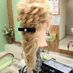 編み込み 外国人風 ヘアアレンジ ラフ ヘアスタイルや髪型の写真・画像