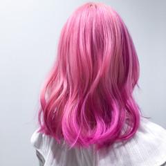 セミロング ブリーチ ストリート ブリーチカラー ヘアスタイルや髪型の写真・画像
