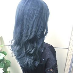 ブルー 簡単ヘアアレンジ ロング ストリート ヘアスタイルや髪型の写真・画像