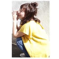 ヘアアレンジ ゆるふわ お団子 ナチュラル ヘアスタイルや髪型の写真・画像