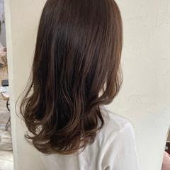 ココアブラウン セミロング ショコラブラウン 透明感カラー ヘアスタイルや髪型の写真・画像