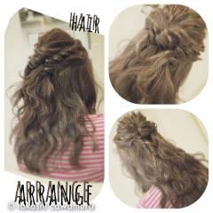 ハーフアップ コンサバ 編み込み モテ髪 ヘアスタイルや髪型の写真・画像