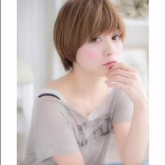パーマ レッド ピンク ショート ヘアスタイルや髪型の写真・画像