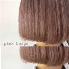 ピンクベージュ ラベンダーピンク ミルクティーベージュ ミルクティーグレージュ ヘアスタイルや髪型の写真・画像