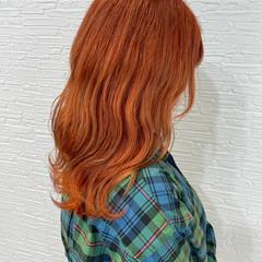 オレンジベージュ オレンジカラー オレンジブラウン ガーリー ヘアスタイルや髪型の写真・画像