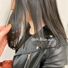 ナチュラル ブルーブラック ストレート 暗髪 ヘアスタイルや髪型の写真・画像