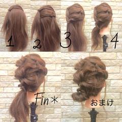 ヘアアレンジ 簡単ヘアアレンジ くるりんぱ ヘアアクセ ヘアスタイルや髪型の写真・画像