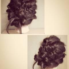 ロング 結婚式 フィッシュボーン ヘアアレンジ ヘアスタイルや髪型の写真・画像