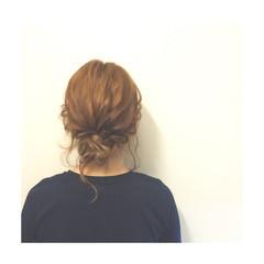まとめ髪 編み込み ヘアアレンジ ミディアム ヘアスタイルや髪型の写真・画像