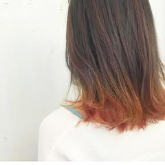 ストリート グラデーションカラー ボブ オレンジ ヘアスタイルや髪型の写真・画像
