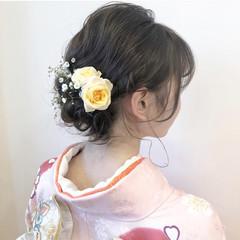 デート ナチュラル セミロング 簡単ヘアアレンジ ヘアスタイルや髪型の写真・画像