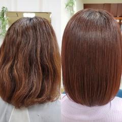 ダメージレス ボブ ナチュラル 縮毛矯正 ヘアスタイルや髪型の写真・画像
