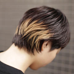 ハイライト ショートヘア ショート 黒髪 ヘアスタイルや髪型の写真・画像