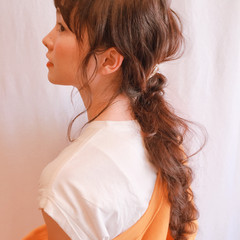 ハイライト 前髪あり ウェーブ フェミニン ヘアスタイルや髪型の写真・画像