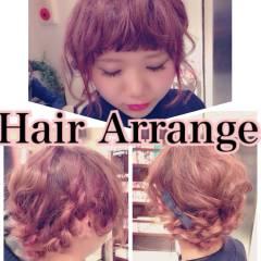 セミロング フェミニン ヘアアレンジ ゆるふわ ヘアスタイルや髪型の写真・画像