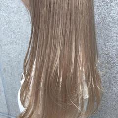ナチュラル ロブ ベージュ ミディアム ヘアスタイルや髪型の写真・画像