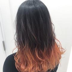 アプリコットオレンジ オレンジカラー モード オレンジ ヘアスタイルや髪型の写真・画像