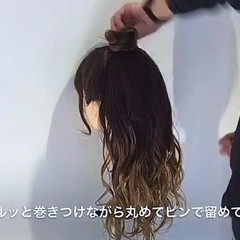 ロング お団子 リラックス 女子会 ヘアスタイルや髪型の写真・画像