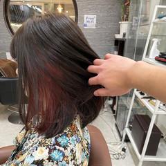 春スタイル ピンクバイオレット 春色 ミディアム ヘアスタイルや髪型の写真・画像
