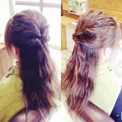セルフヘアアレンジ くるりんぱ 簡単ヘアアレンジ ハーフアップ ヘアスタイルや髪型の写真・画像