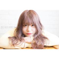 うざバング ダブルカラー ガーリー ピンクアッシュ ヘアスタイルや髪型の写真・画像