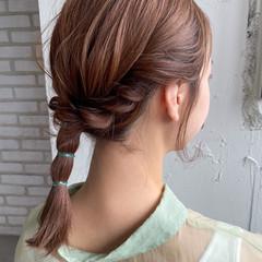 簡単ヘアアレンジ ミディアム セルフヘアアレンジ ナチュラル ヘアスタイルや髪型の写真・画像